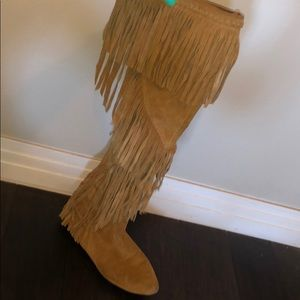 Sam Edelman Over The Knee Suede Tan Fringe Boots